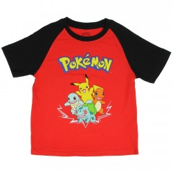 Pokemon Pikachu and Friends Red Boys Short Sleeve Shirt