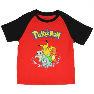 Pokemon Pikachu and Friends Red Boys Short Sleeve Shirt At Space City Kids Clothing