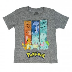 Pokemon Bulbasaur Charmander Squirtle Grey Boys Short Sleeve Shirt