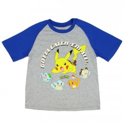 Pokemon Got To Catch Them All With Pikachu And Friends Grey Boys Shirt