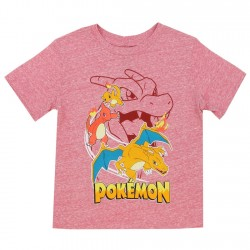 Pokemon Fire Dragons Heather Red Boys Short Sleeve Shirt