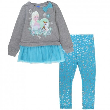 Disney Frozen Elsa And Olaf Grey Fleece Top With Blue Printd Leggings At Space City Kids Clothing