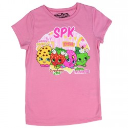 Shopkins Pink Girls Shirt With Kooky Cookie D'Lish Apple Blossom And Strawberry Kiss Space City Kids