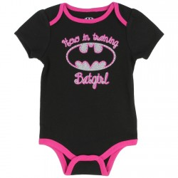 DC Comics Batgirl Black Hero In Training Onesie With Silver Bat Signal