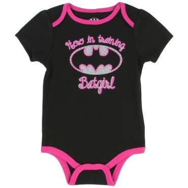 DC Comics Batgirl Hero In Training With Silver Bat Signal Black Baby Onesie At Space City Kids Fashion Clothing