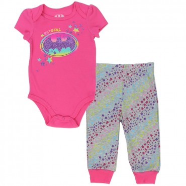 DC Comics Batgirl Pink Baby Onesie With Colorful Bat Signal And Grey Pants With Colorful Stripes Space City Kids