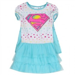 DC Comics Supergirl White Summer Dress With Blue Detachable Cape Space City Kids Clothing