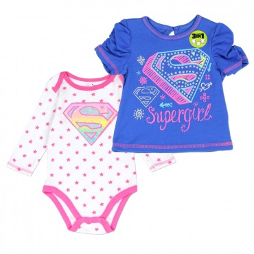 DC Comics Supergirl Onesie and Long Sleeve Top At Space City Kids Clothing