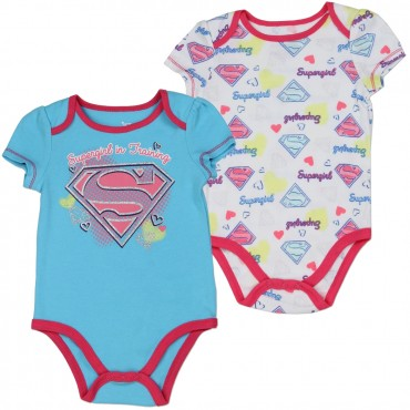 DC Comics Supergirl Blue Supergirl In Training Onesie With White All Over Print Onesie At Space City Kids Fashion