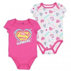 DC Comics Supergirl White Onesie and Pink Onesie At Space City Kids Clothing Store