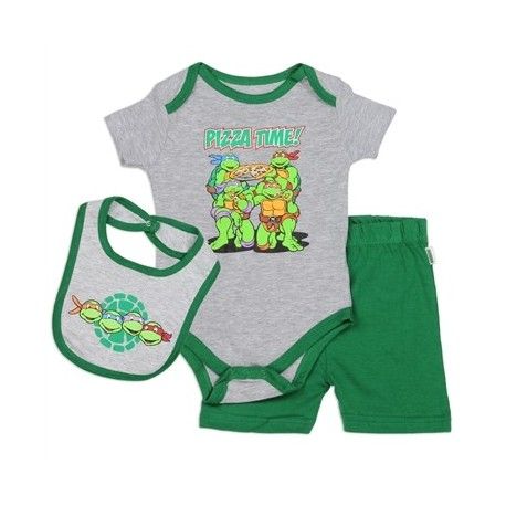 Nick Jr Teenage Mutant Ninja Turtles Pizza Time Bib Onesie And Shorts