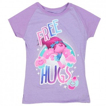 Dreamworks Trolls Free Hugs Lavender Short Sleeve Shirt At Space City Kids Clothing