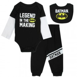 DC Comics Batman A Legend In The Making Black Infant 3 Piece Layette Set