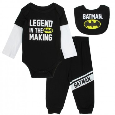 DC Comics Batman A Legend In The Making Black Infant 3 Piece Layette Set At Space City Kids Clothing