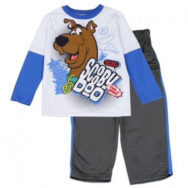Scooby Doo White Long Sleeve Top And Grey Pants At Space City Kids Clothing