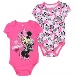 Disney Minnie Mouse Daddy's Girl Pink 2 Pack Onesie Set