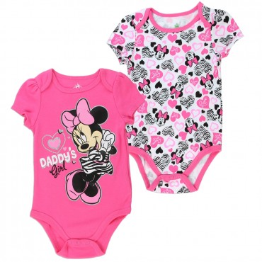 Disney Minnie Mouse Daddy's GirlPink 2 Pack Onesie Set At Space City Kids Clothing