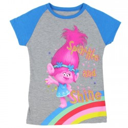 Dreamwork Trolls Sparkle and Shine Grey Girls Short Sleeve T Shirt