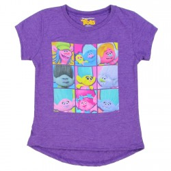 Dreamworks Trolls Cast Of Characters Purple Girls Short Sleeve Shirt
