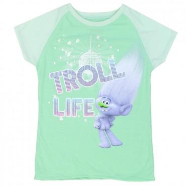 Dreamworks Trolls Mint Green Troll Life Short Sleeve Shirt At Space City Kids Clothing Girls Shirt