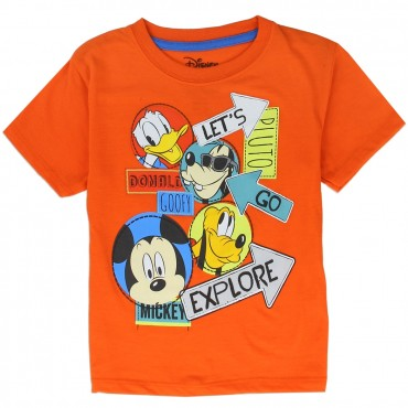 Disney Let's Go Explore With Mickey Donald and Pluto Orange Shirt At Space City Kids Clothing Toddler Clothes