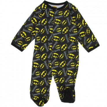 DC Comics BatmanBlack Footed Sleeper With Yellow Bat Signals At Space City Kids Clothing