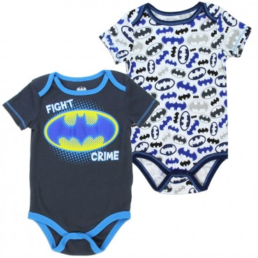 DC Comics Batman Fight Crime Charcaol and White Onesie Set At Space City Kids Clothing Baby Clothing