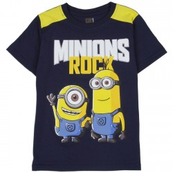 Universal Despicable Me Minions Rock Navy Blue Boys Shirt