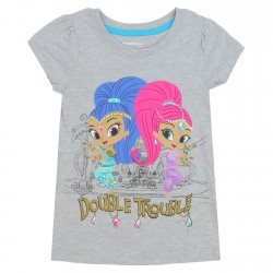 Nick Jr Shimmer and Shine Double Trouble Grey Girls Short Sleeve Shirt At Space City Kids Clothing
