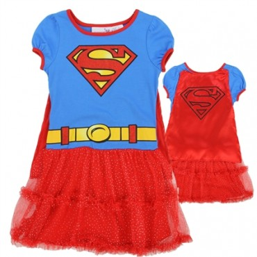 DC Comics Supergirl Blue and Red Dress With Detachable Cape At Space City Kids Clothing
