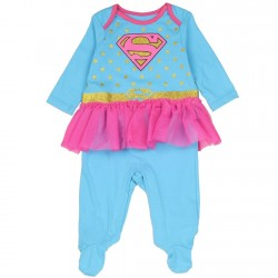 DC Comics Supergirl Blue Costume Footed Sleeper With Gold Stars
