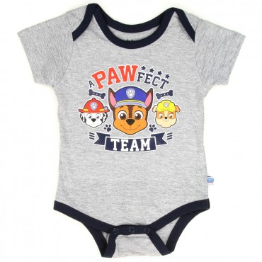 Nick Jr Paw Patrol A Pawfect Team Grey Infant Onesie With Chase Marshall And Rubble At Space City Kids Clothing