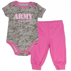 US Army Princess Grey Camo Onesie And Pink Pants At Space City Kids Clothing