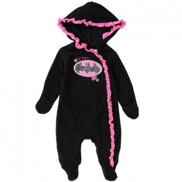 Batgirl Lil Hero Black Lightweight Polar Fleece Pram With Pink Ruffled Fringe At Space City Kids Clothing Store