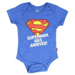 DC Comics Superman Has Arrived Blue Baby Onesie At Space City Kids Clothing