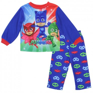 Disney Junior PJ Mask Catboy Gekko And Owlette Toddler Boys BluePajama Set At Space City Kids Clothing
