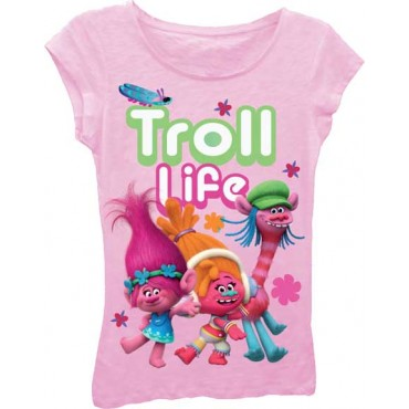 Dreamworks Trolls Troll Life Light Pink Princess Tee At Space City Kids Clothing