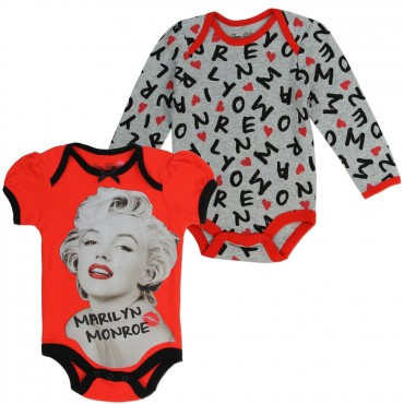 Born Glamorous Marilyn Monroe Red Bodysuit With Grey Long Sleeve Bodysuit At Space City Kids Clothing