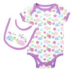 Weeplay Best Friends Pink And Purple Turtles Onesie With Matching Bib
