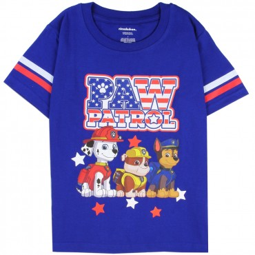 Nick Jr Paw Patrol Red White And Blue Logo Short Sleeve Blue Shirt At Space City Kids Clothing