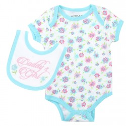 Weeplay Daddy's Girl Blue Onesie With Flowers And Matching Bib