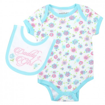 Weeplay Daddy's Girl Blue Onesie With Flowers And Matching Bib At Space City Kids Clothing Baby Girls Clothes