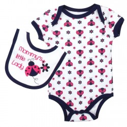 Weeplay Mommy's Little Lady Ladybug Onesie With Matching Bib