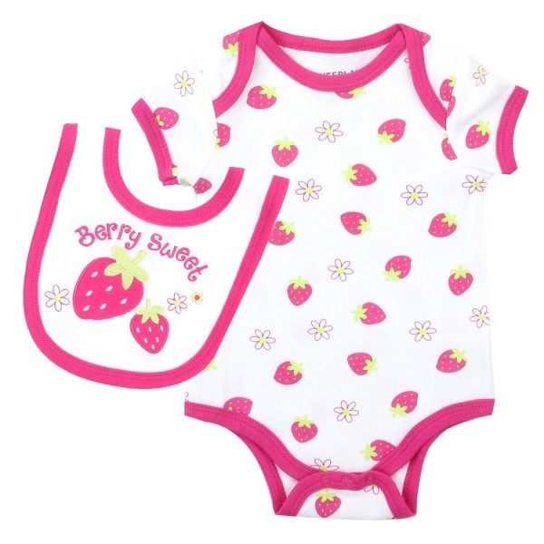 90535907ac60 Weeplay Baby Girls Berry Sweet Bib And Onesie Set