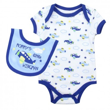 Weeplay Mommy's Little Wingman Onesie With Matching Bib