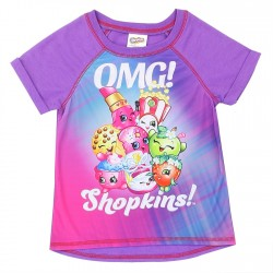 Shopkins OMG Shopkins Front Sublimated Short Sleeve Shirt With French Terry Back Space City Kids Clothing
