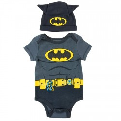 DC Comics Batman Charcoal Onesie With Matching Hat With Ears At Space City Kids Clothing Store