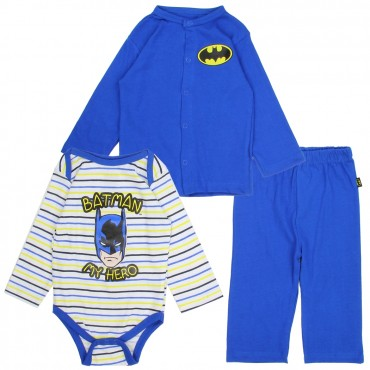 DC Comics Batman My Hero Long Sleeve Onesie Snap Down Blue Jacket And Blue Pants At Space City Kids Clothing Store