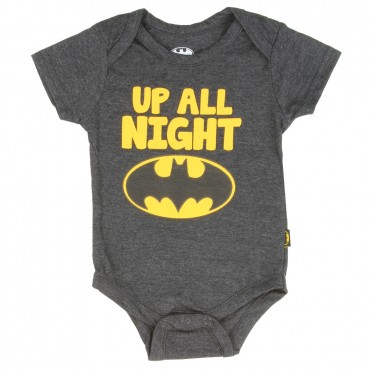 DC Comics Batman Up All Night Charcoal Baby Onesie At Space City Kids Clothing Store