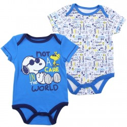 Peanuts Snoopy And Woodstock Not A Care In The World Onesie Set At space city Kids Clothing Store